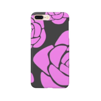 Rose 黒×ピンク Smartphone cases