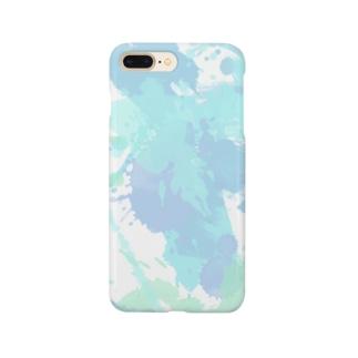 スプラッタ 水色 Smartphone cases