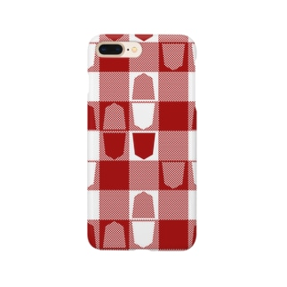 将棋ギンガム(赤) Smartphone cases