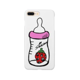 哺乳瓶いちご(ピンク) Smartphone cases