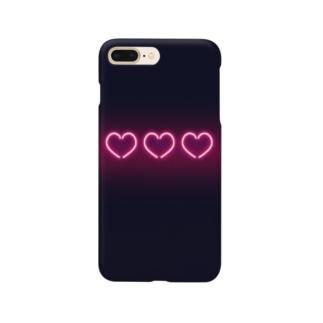 レトロなネオン感風ハート Smartphone cases