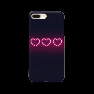 syouyu1010のレトロなネオン感風ハート Smartphone cases