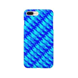 幾何学模様 青 波 Smartphone cases