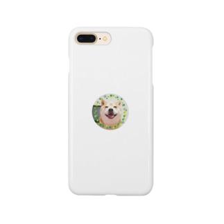 豆柴ビーン丸ワッペン Smartphone cases