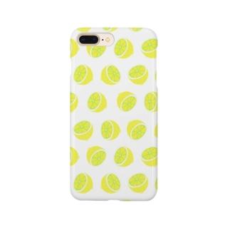 レモン ホワイト Smartphone cases