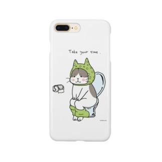 といれねこ 緑色 Smartphone cases