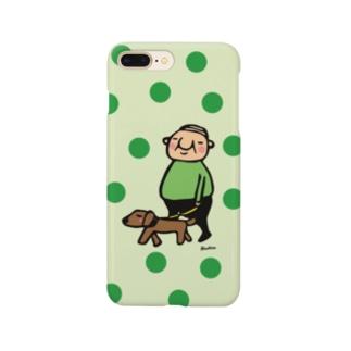 ちっちゃいおじさん岩井係長の散歩 水玉バージョン Smartphone cases