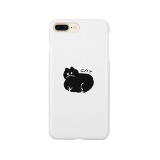 丸い黒猫 スマートフォンケース