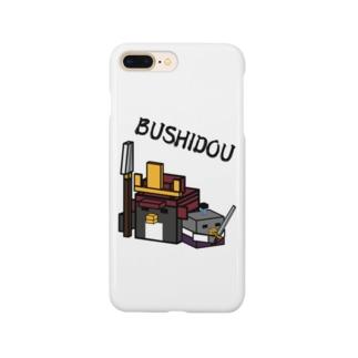 スクエアワールド ペンギン 武士道 Smartphone cases