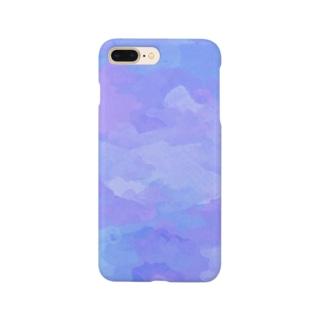 水彩ビビッドパープルブルー Smartphone cases