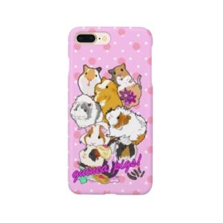 モルモット大集合ピンクホワイトドット Smartphone cases