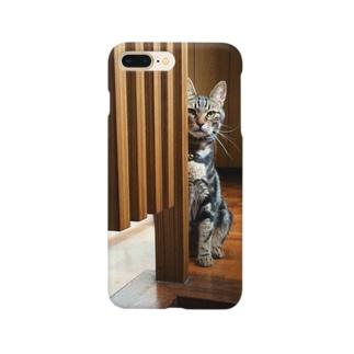 陰からのぞくネコ Smartphone cases
