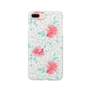 レッドローズテールベタ ホワイト Smartphone cases