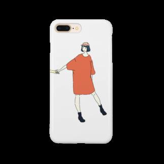 マキノノマの手をひくTシャツワンピ Smartphone cases
