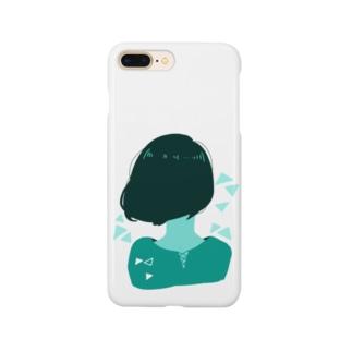 緑色後ろボブちゃん Smartphone cases
