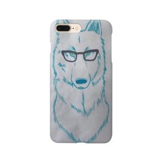 黒ぶちメガネと狼くん 手描きイラストスマホケース Smartphone cases