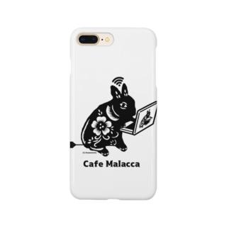 黒い小梅うさぎ PC作業 Smartphone cases