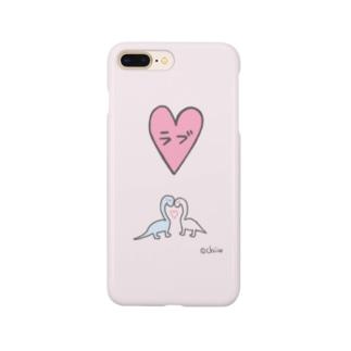 パステルな恐竜【ラブ】 Smartphone cases