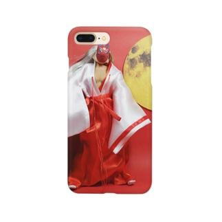 ドール写真:赤い狐と丸い月 Doll picture: Red fox & full moon Smartphone cases