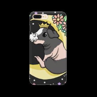 Lichtmuhleの月とモルモット(ゆるかわ×スキニーギニアピッグ) Smartphone cases