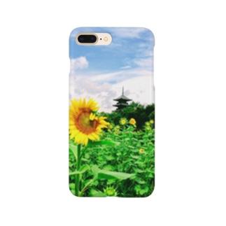 ひまわり畑と五重塔1 Smartphone cases