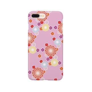 和柄(ピンク) Smartphone cases