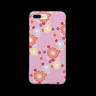 陽向の和柄(ピンク) Smartphone cases