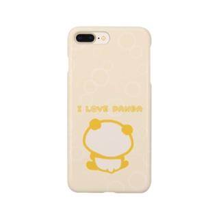 シャボン:ピンクベージュ(I LOVE PANDA) Smartphone cases