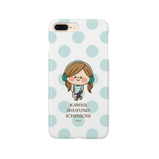 かわいい主婦の1日ドット(ミント) Smartphone cases