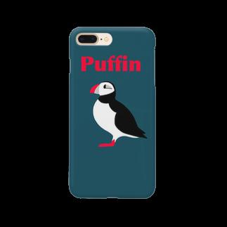 とりのスマホケース  パフィン紺 Smartphone cases
