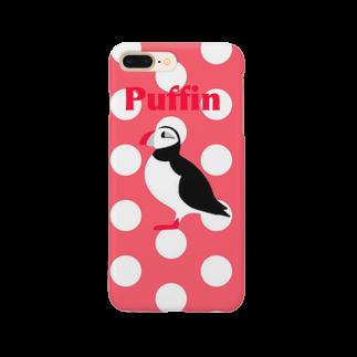 とりのパフィン ピンク水玉 Smartphone cases