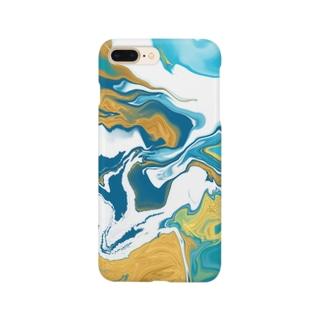 流体ペイント【ゴールド ターコイズブルー】 Smartphone cases