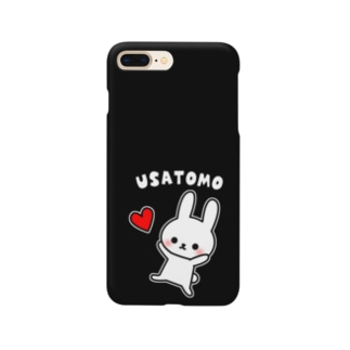 うさともスマホケース(ハート・ブラック) Smartphone cases