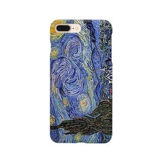 ゴッホ「星月夜-糸杉と村-」 Smartphone cases