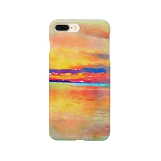 宍道湖の夕日 水彩 Smartphone cases