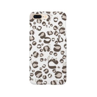ひょう柄猫ちゃん白 Smartphone cases