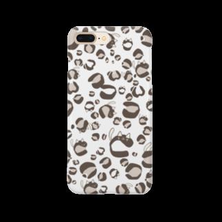 イラストレーター yasijunのひょう柄猫ちゃん白 Smartphone cases