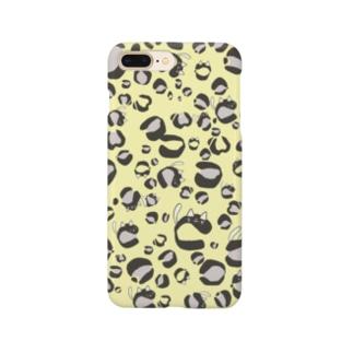 ひょう柄猫ちゃんイエロー Smartphone cases