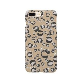 ひょう柄猫ちゃんベージュ Smartphone cases