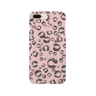 ひょう柄猫ちゃんピンク Smartphone cases