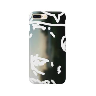 吹き出しのあるキャラクター(夕陽のある風景) Smartphone cases