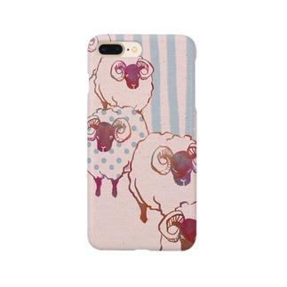 羊(ピンク) Smartphone cases