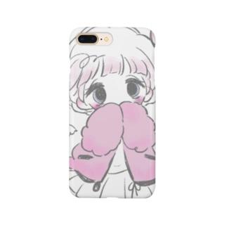 じーっと見つめられるiPhoneケース(白) Smartphone cases