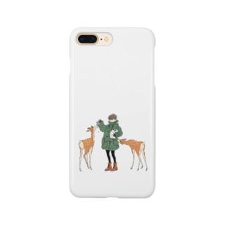 ダッフルコートと鹿 Smartphone cases