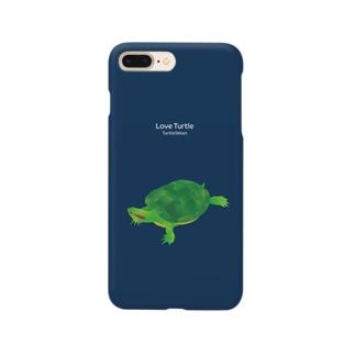 Love Turtle Type A ネイビー Smartphone cases
