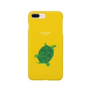 Love Turtle Type B イエロー Smartphone cases