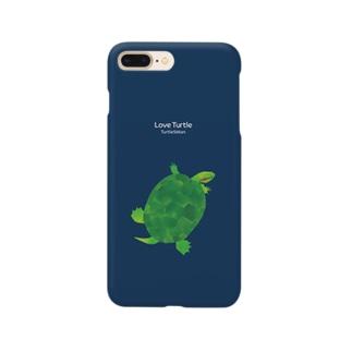 Love Turtle Type B ネイビー Smartphone cases