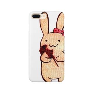 うさぎ(全身・ケイトウ) Smartphone cases