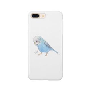 青色セキセイインコちゃん Smartphone cases