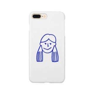 ふたつ結びの女の子 青 Smartphone cases